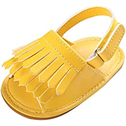 Tefamore Sandalias Zapatos Bebé Niño Cuna de Recién Nacido Flor Suave Suela Antideslizante Zapatillas Primavera y Verano (11, Amarillo 2)