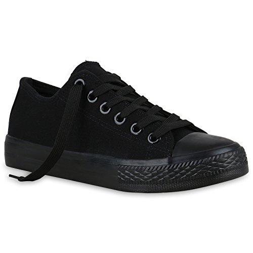 Stiefelparadies Damen Sneakers Sport Sneaker Low Denim Stoff Blumen Camouflage Schuhe 123350 Schwarz 45 Flandell