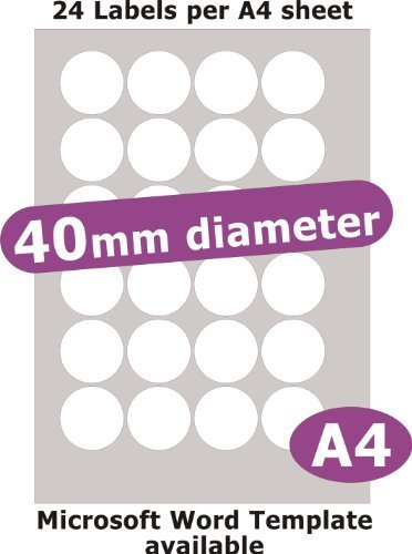 40mm diametro rotondo , 120 Etichette , Opaco Cartoncino Bianco , 5 A4 Fogli , Laser Copiatrice Getto d'inchiostro Adesivi