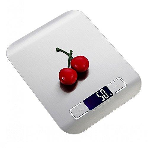 UNIQUEJASON Ultradünne Küchenwaage aus Edelstahl Hochpräzise elektronische Waage Lebensmittelwaage (10kg/1g, with Container) (1g-container)