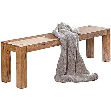 FineBuy Esszimmer Sitzbank Massiv-Holz Akazie 120 x 45 x 35 cm Design Holz-Bank Natur-Produkt Küchenbank Landhaus-Stil dunkel-braun Bank 3-Sitzer für innen ohne Rücken-Lehne Echt-Holz unbehandelt