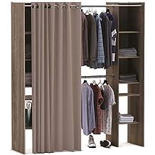 Miroytengo Kit Armario Extensible vestidor Armario ropero con Cortina Barras colgadoras y Columna con estantes Color