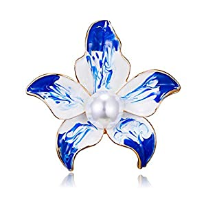 AILUOR Damen Eleganter Emaille-Pflaume-Blüten-Blumen-Brosche, Art Und Weise Gold Überzogene Perlen-Blumenbrosche Revers Pin Braut Hochzeit Corsage Schmuck Geschenke