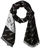 Calvin Klein Damen 100X200cm Logo Jaquard Scarf Schal, Schwarz (Black Bds), One Size (Herstellergröße:OS)
