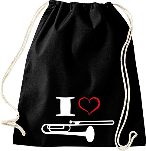 Shirtstown Turnbeutel Musik I Love Posaune Blassinstrument, schwarz