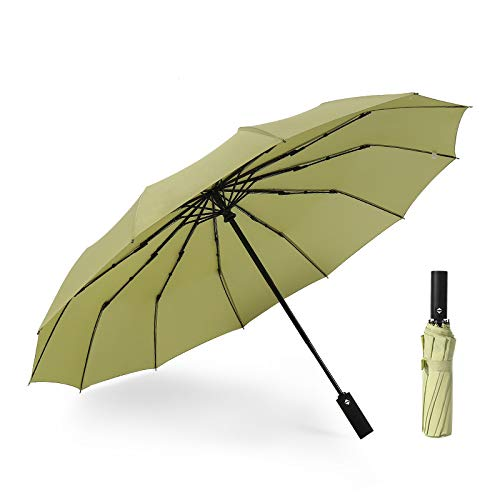 JUNDY Regenschirm, Taschenschirm, Kompakter Falt-Regenschirm, Klein, Leicht, Reiseschirm Automatikschirm zwölf Knochen Winddicht Farbe3 105cm