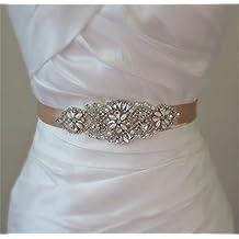TRLYC Marfil Boda Cinturón novia vestido de novia Sash Crystal Rhinestone Applique black ribbon