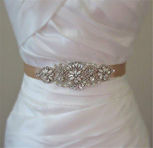 trlyc Elfenbeinfarbener Hochzeitsgürtel, Brautschmuck, Gürtel für Hochzeitskleid mit Strass-Applikation black ribbon