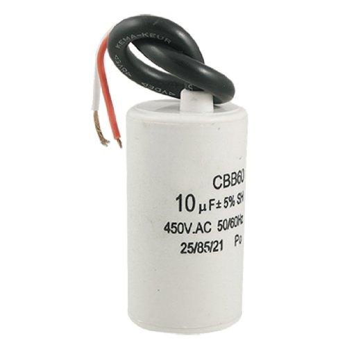 sourcingmap® CBB60 10uF Draht Blei Zylinder Motor Run SH Kondensator 450V AC