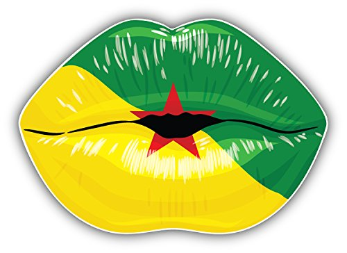 French Guiana Flag Lips Art Decor Vinyl Sticker Aufkleber 12 x 10 cm (French Flag Bumper Sticker)