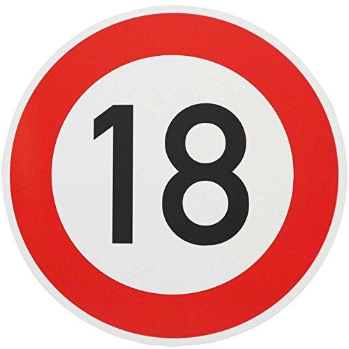 ORIGINAL Verkehrzeichen 18 KM/H Schild Nr. 250 (m. Sondertext) Verkehrsschild Straßenschild Straßenzeichen Metall auch Gebutrtstagschild zum 18. Geburtstag als 18km Geburtstagsschild 42 cm Metall