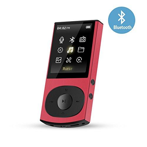 8GB Bluetooth MP3 Player, Metall FM Radio Musik Player, unterstützt 128GB Micro SD Speicherkarte, von AGPTEK C3, Rot