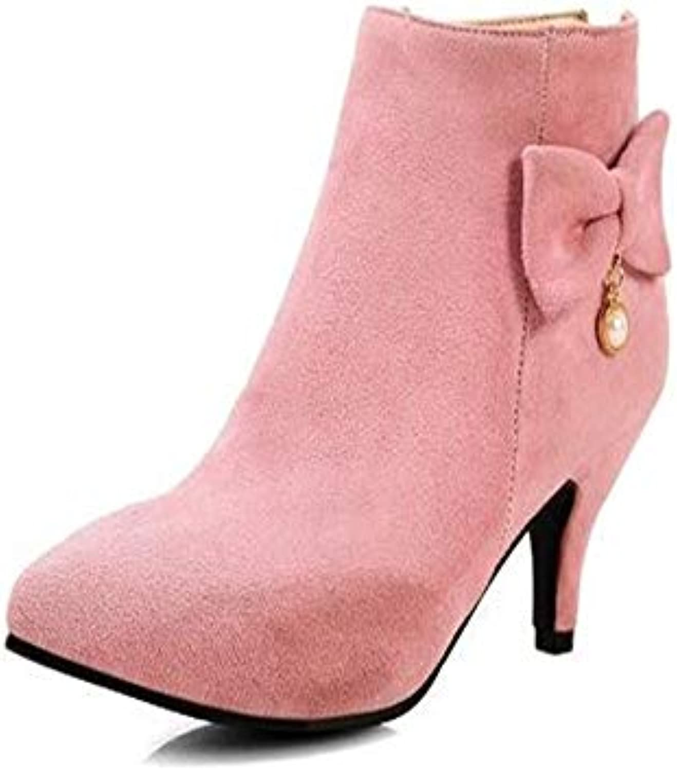 f0072bbb763f HCBYJ High heels Women s boots autumn and winter warm fashion fashion  fashion zipper bow ankle boots pink high-heeled Martin shoes B07H2FWNP4  Parent 670dd4