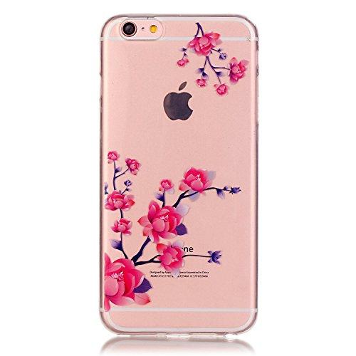 Btduck Impression Couleur Coque Pour Apple iPhone 6 6S 4.7 Pouces Protection Empêche l'écran d'être brisé Propre et transparente Silicone doux en plastique Produit extérieur Case Anti-vibrations Cover Saucisson à feuilles violet