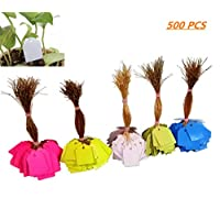 FISHSHOP Plant Hanging Tags 500 Pcs Plastic Tree Labels Tags Waterproof Garden Markers with Ties, 3.5x2.5cm Multi-Colored