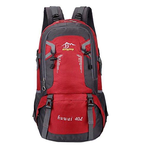 Outdoor Lässig Bergsteigen Tasche Schulter Tasche Groß Kapazität 40L Reisen Rucksack Red
