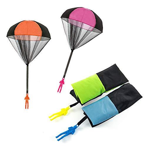 Joeyer Kinder Fallschirmspringer Spielzeug, 4 Stück Hand Werfen Fallschirm Kinder Fliegende Spielzeug für Draußen