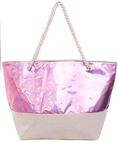 länzender schimmernder XXL Shopper Beach Bag mit breiter Kordel Schultertasche, Taschen Farbe:Lila ()