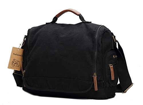 Sulandy - Borsa a tracolla, in tela, stile vintage, grande, unisex, bordi in pelle, per scuola, militari, army green(medium), L 1086 black