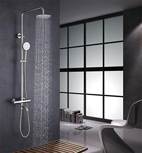 Chrome Steel Column (Bathroom Shower Set Brass Chrome Wall Mounted Shower Faucet Shower Head Water Saving Nozzle Aerator thermostatic shower column)