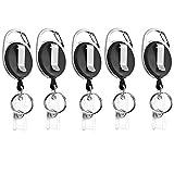 Xinlie 5Stück Schlüssel JoJo Ausweis JoJo Ausweishülle JoJo mit extra starker Feder und reißfester Schnur bietet mit Gürtelclip für ID Badge Holder Kartenhalter Schlüsselband Karabiner Haken Schwarz