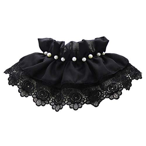 Yvelands Retro Frauen Spitze Perle Spitze Gefälschte Falsche Reverskragen Bluse Pan Kragen(Schwarz,)