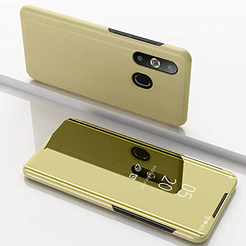Custodia® Spiegelüberzug Clear View Standfunktion Flip Hülle für Samsung Galaxy A8s/Samsung Galaxy A50/Samsung Galaxy A30/Samsung Galaxy A20 (Gold)