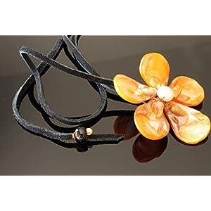Ausgefallene Choker Halsband Collier Damen Orange Perlmutt Lederband Schwarz verstellbar ca. 90cm lang ca. 30g leicht…