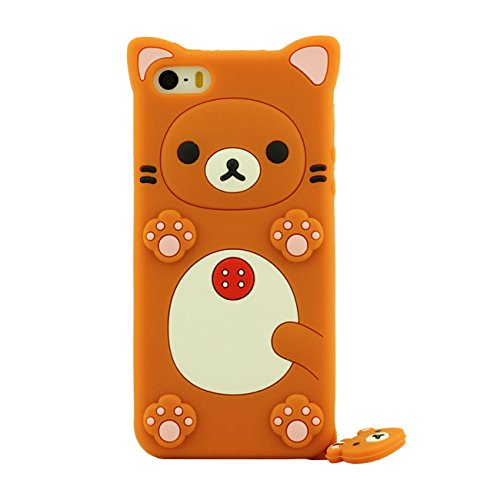 Apple Schutzhülle für iPhone SE / iPhone 5 5S 5G Hülle ( Pink ), Tier Cartoon Stil Original Design Niedlich 3D Bär Slikon Gel Weich Case + Silikon Halter orange