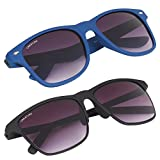 Creature Blue & Black Matte Finish Wayfarer UV Protected Unisex Sunglasses Combo(Lens-Purple||Frame-Blue/Black||Sun-016 DOIT-001)