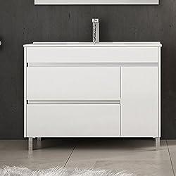 Ducha.es Hémera Ensemble de salle de bain avec meuble et plan vasque en céramique 100cm Blanc brillant