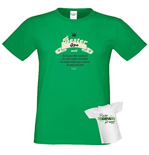 Bester Opa weil… Papa Großvater Geschenke Set Vatertag Sprüche Fun T-Shirt & Minishirt Farbe: hellgrün Hellgrün