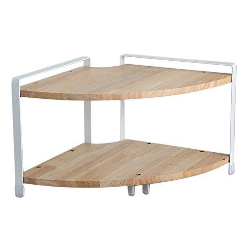 Mensola porta-spezie in legno con 2 ripiani, legno, natural, stile b