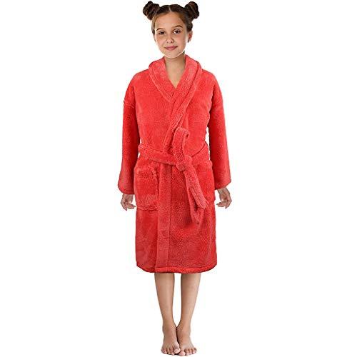 Amphia - (3T-12T Kinderbademantel - Langarm/Volltonfarbe/Kinder - Home Wear, schönes Nachthemd - Kleinkind Jungen Mädchen Feste Flanell Bademäntel Handtuch Nachthemd Pyjamas Nachtwäsche