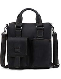 Multifuncional Bolsa Mensajero Hombre Bolso de cuero para computadora portátil, maletín de viaje con organizador