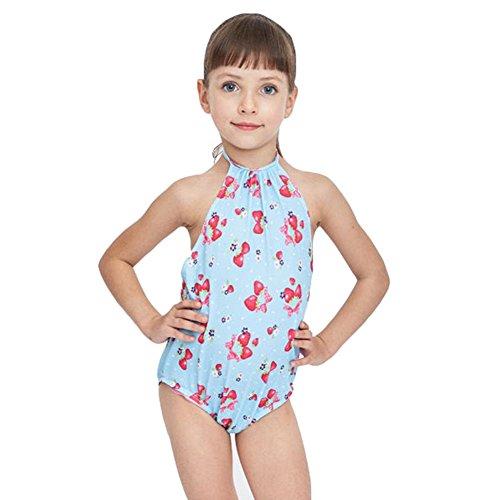 Badeanzug Erdbeer (Kinder-Mädchen-nette Einteiler-Badebekleidungs-Blume druckte Prinzessin-Rock-Badeanzug-blaue Erdbeere / 115-125cm)