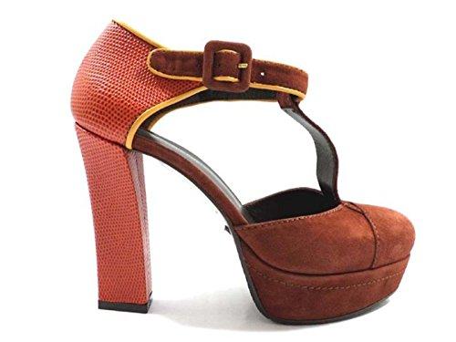 scarpe donna GUIDO SGARIGLIA 36 EU decolte arancione marrone camoscio / tessuto AY110