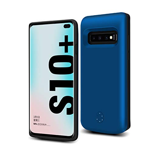 Samsung Galaxy S10 Plus Custodia Batteria, 6000mAh Ricaricabile Esterna Cover Caricabatterie di backup Batteria Power Bank Custodia Batteria Extended Extra Pack Antiurto Custodia Protettiva Blue
