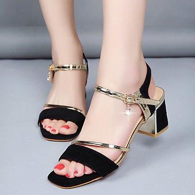 Sandales femmes Printemps Été mince Hin Club Match Tous confort Chaussures Suede Partie & tenue de soirée Talon Rhinestone Buckle Black