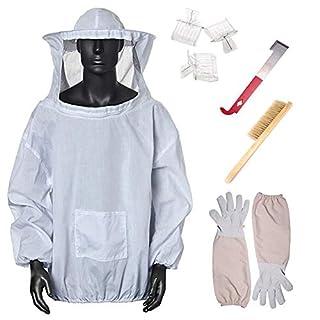 Ensemble de costume d'apiculteur professionnel 7 en 1, veste/gants de voile d'apiculteur/brosse pour ruche d'abeille/ensemble d'outils de ruche en forme de J/receveur de reines
