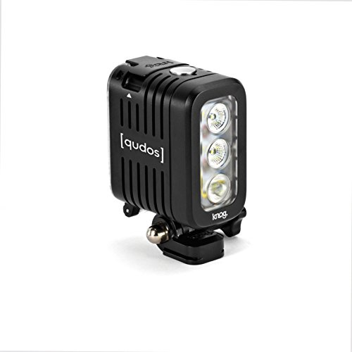 qudos action by Knog, LED Lampe für alle Action-, Spiegelreflex- und Systemkameras, 3 Hi-Power LEDs, 400 Lumen, 6 Leuchtmodi, 40 Meter wasserdicht, Gewicht 150g, Lithium-Polymer Akku, bis zu 4 Stunden Laufzeit, schwarz
