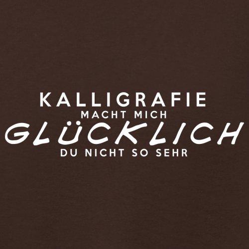Kalligrafie macht mich glücklich - Damen T-Shirt - 14 Farben Dunkles Schokobraun
