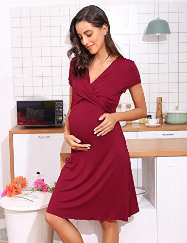 29b704c8b1 Hawiton Pigiama Camicia da Notte Premaman da Donna Morbido in Cotone Manica  Corta Vestito Camicia da Notte per Parto Ospedale Allattamento Vino Rosso M
