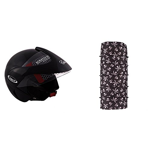 Autofy Habsolite Estilo Glossy Flip Up Helmet (Black, M) and Autofy Pirate Skull Print Lycra Headwrap Bandana for Bikes (Black and White, Free Size) Bundle