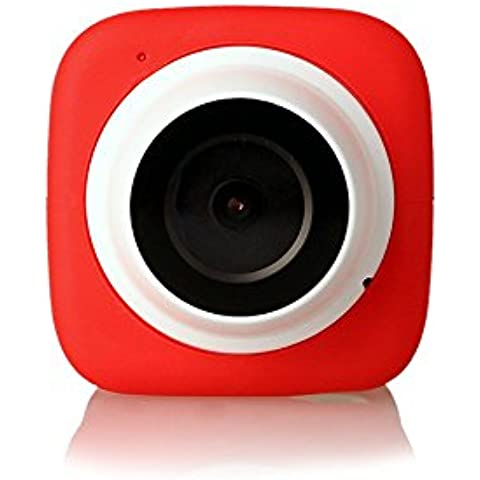 kezoll WiFi Fotocamera Selfie con adesivi e piastra magnetica schede di memoria 16GB inclusa rosso