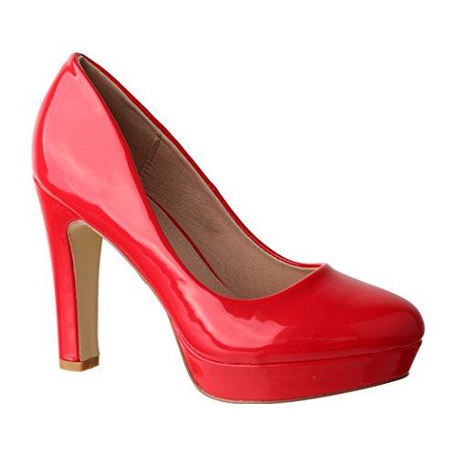Elara Plateau Pumps | Bequeme Damen High Heels | Abend Schuhe Lackoptik | Chunkyrayan | E22322 ()