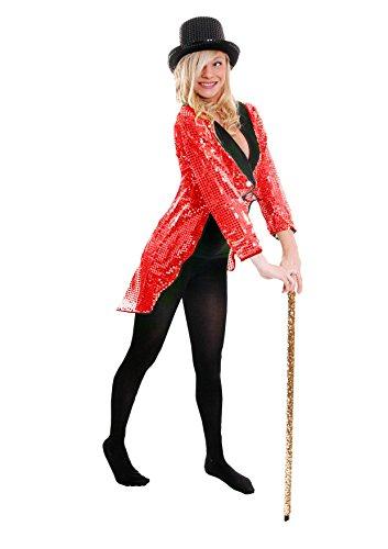 ROTER Frack/Tailcoat= Pailletten Jacke= Das PERFEKTE KOSTÜM FÜR Jede TANZAUFFÜHRUNG - STEPTANZ -Fasching UND Karneval = DER SUPER KLASSE =Sequin= IN 6 VERSCHIEDENEN GRÖSSEN=MEDIUM