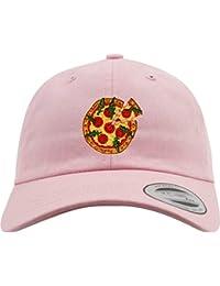 Pink Unisex Pizza Stickerei Baseball Cap Mütze Kappe einstellbare Größe weiß