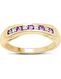 La Colección Diamantes Rubi: 9ct Anillo Oro de Amatista y Diamantes de 6mm de canal set, Anillo Eternidad, talla del anillo 6,8,9,10,11,12,13,15,16,17,19,20,21,22,24,25,26