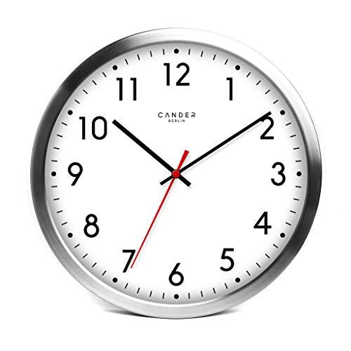 Cander Berlin MNU 4130 Weiße Wanduhr aus Aluminium mit lautlosem Sweep Uhrwerk für den Außenbereich - Badezimmerwanduhr - 12 Zoll (Ø) 30,5 cm